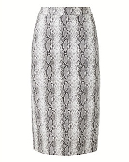 Snake Print PU Pencil Skirt