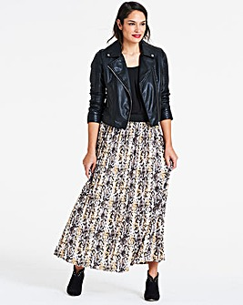 Snake Print Pleat Maxi Skirt