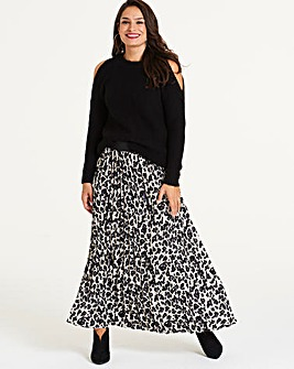 Leopard Print Pleat Maxi Skirt