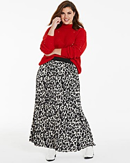 Leopard Print Pleat Maxi Skirt