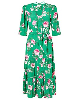 Monsoon Alexis Floral Tiered Midi Dress