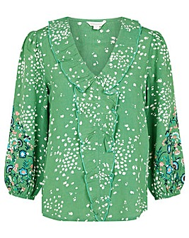 Monsoon Embroidered Dot Print Blouse