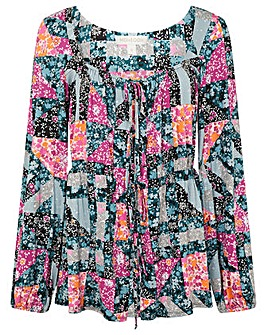 Monsoon Floral Square Neck Jersey Top