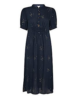 Monsoon Embroidered Crinkle Midi Dress
