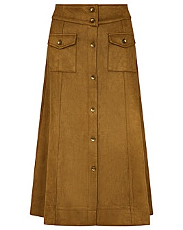 Monsoon Button-Through Suedette Skirt