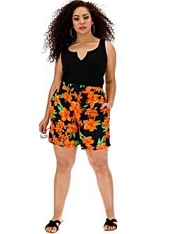 Floral Print Wide Leg Shorts
