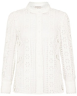 Monsoon Tracey High Neck Lace Blouse