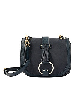 Monsoon Leather Cross-Body Saddle Bag