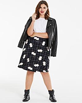 Floral Grid Print Jersey Skater Skirt