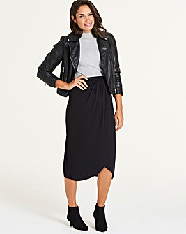 Stretch Jersey Wrap Midi Skirt