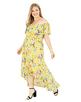 Mela London Curve Floral Bardot Dress in Yellow