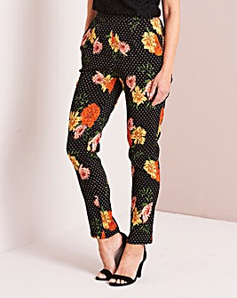 Floral Crepe Tapered Leg Trousers Regular