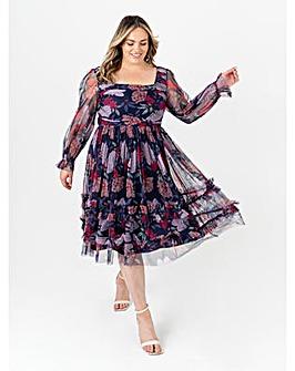 Anaya With Love Navy Floral Midi Dress