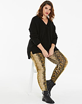 Snake Print Jersey Leggings