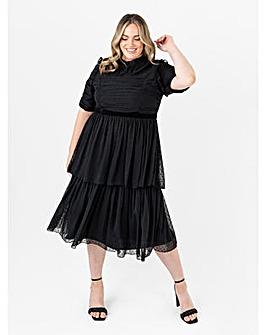 Anaya With Love Black Tiered Midi Dress