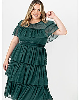 Anaya With Love Green Tiered Midi Dress