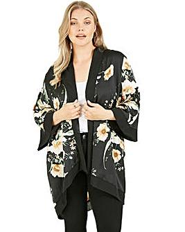 Mela London Curve Poppy Garden Printed Kimono in Black