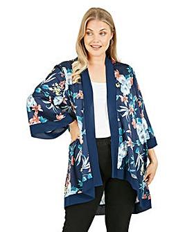 Mela London Curve Floral Printed Kimono in Navy