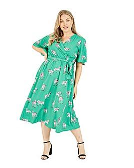 Yumi Curves Zebra Printed Wrap Dress in Green