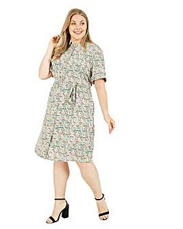 Yumi Ditsy Print Shirt Dress in Pastel Green
