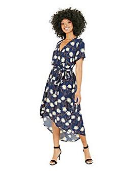 Mela London Curve Daisy Print Wrap Midi Dress