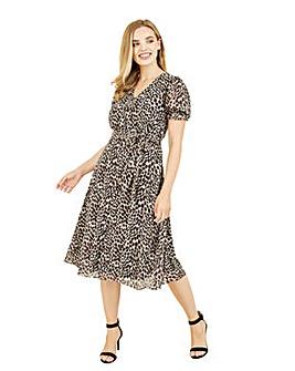 Mela London Curve Animal Print Midi Tea Dress