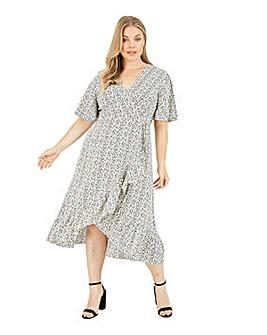 Mela London Curve Animal Print Wrap Over Midi Dress