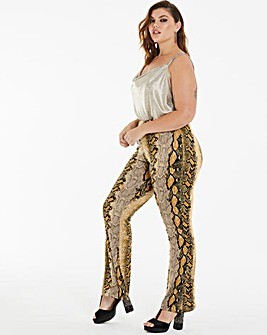 Brown Snake Print Flared Jersey Trousers