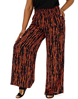 Print Crinkle Shirred Waist Wide Trouser
