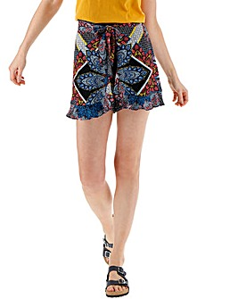 Blue & Coral Crinkle Wrap Frill Shorts