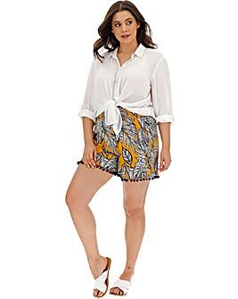 Yellow Print Crinkle Pom Pom Hem Shorts