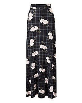 Floral Print Stretch Jersey Maxi Skirt