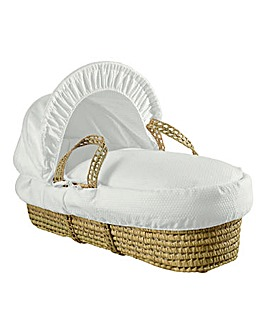 Clair De Lune Cotton Dream Palm Moses Basket - White