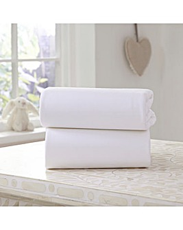 Clair De Lune 2 Pack Fitted Cotton Jersey Moses Basket Sheets