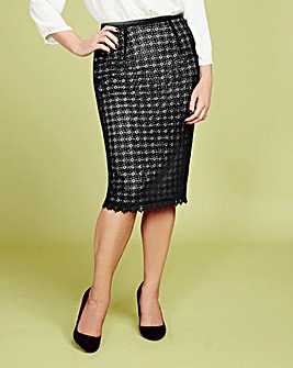 Lorraine Kelly Crochet Lace Pencil Skirt