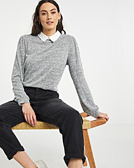 Julipa Jersey Top with Contrast Collar.