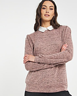 Julipa Jersey Top with Contrast Collar