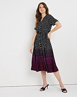 Border Print Shirt Dress