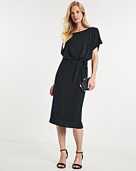 Julipa Metallic Knit Tie Waist Dress