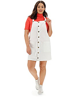 White Denim Button Down Pinafore