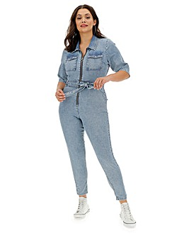 Blue Acid Wash Denim Boilersuit with Elasticated Waist