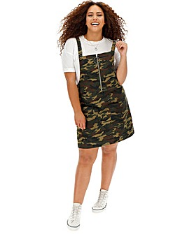 Camo Print Zip Front Denim Pinafore