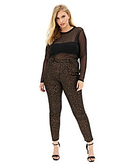 Bella Black Leopard Glitter Pull-On Slim Leg Jeggings