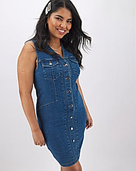 Blue Stretch Denim Bodycon Dress