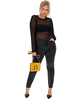 Washed Black Demi High Waist Mom Jeans