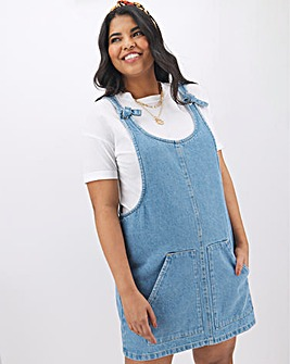 Stonewash Tie Knot Pinafore Dress