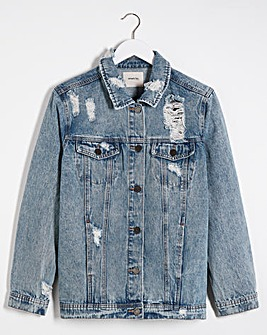 Stonewash Ripped Oversized Denim Jacket