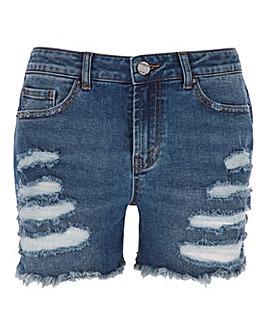 Fern Stonewash Extreme Ripped Denim Shorts with Waist Adjuster