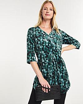 Julipa Velour Button Front Print Tunic