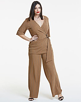 Striped Rib Wide Leg Trousers